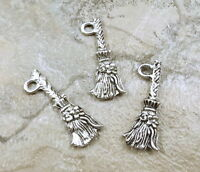 Set Of 3 Pewter Witch's Broom Charms -5207