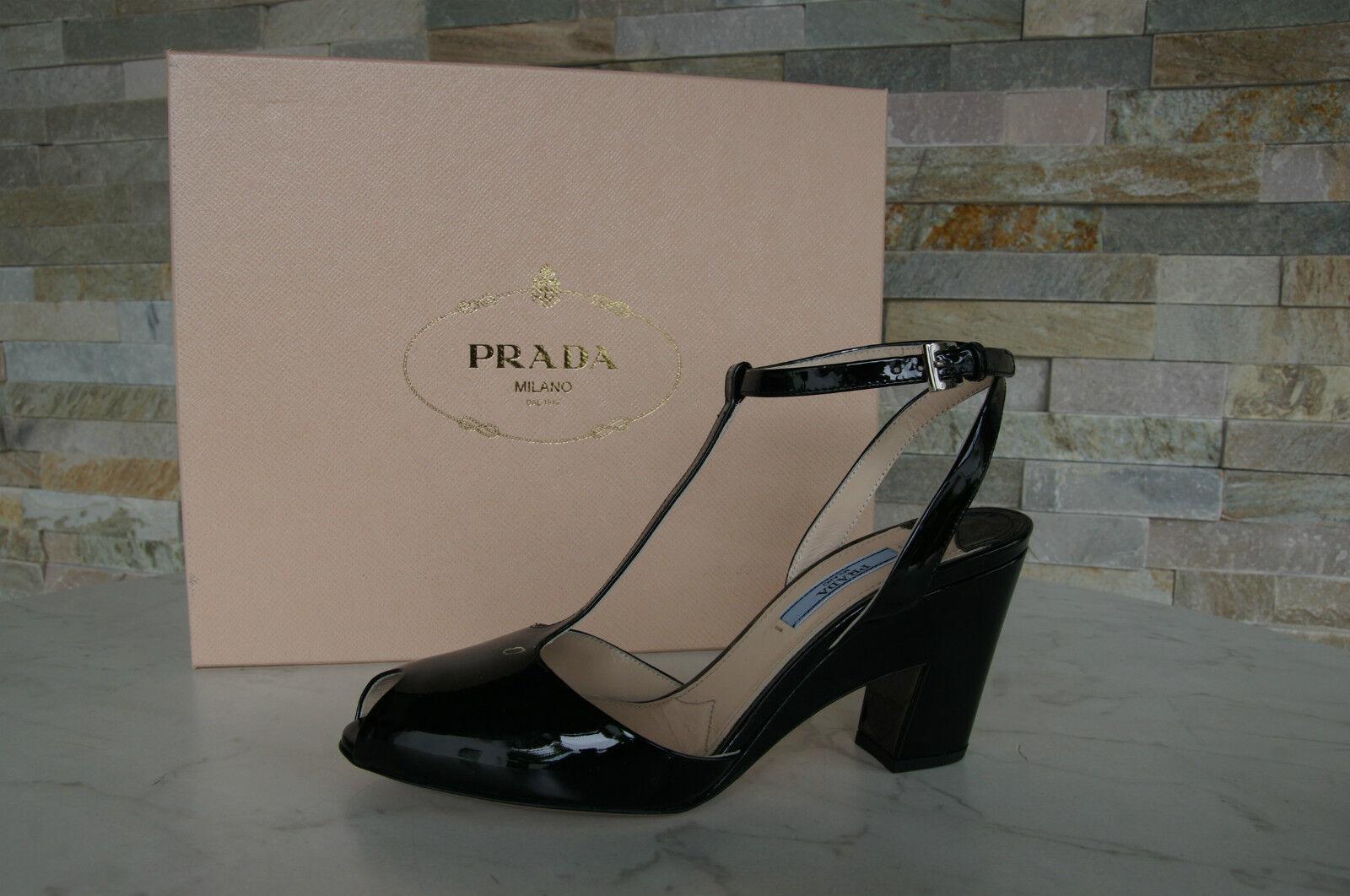 Prada Sandaletten Gr 35,5 Lack T-Strap Lack 35,5 Heels Schuhe Schuhes schwarz neu af7cbf