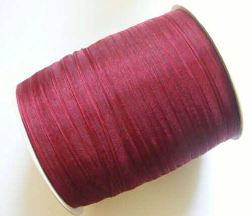 Burgundy Red 6mm 15 Mtrs Sheer Organza Ribbon