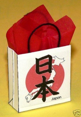 """/""""Japan/"""" Miniature Gift Bag Japanese Characters and Map"""