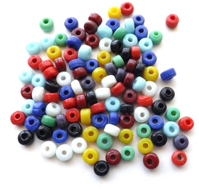 100 x 7mm Mixed Colour Opaque Glass Crow Beads - Native American Jewellery Craft