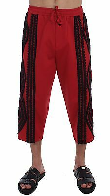 L NEW $900 DOLCE /& GABBANA Mens Red Black Torero 3//4 Pants Shorts Runway IT50