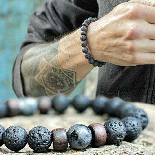 Men Women Vintage Lava Rock Chakra Beads Elastic Stone Agate Bracelet Bangle QL