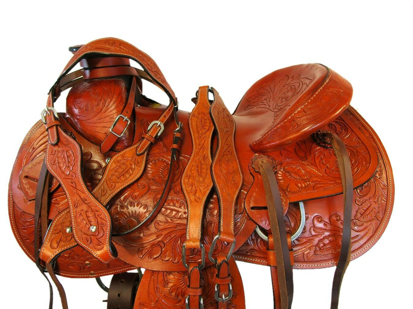 Cuero fileteado duro asiento silla caballo occidental amarrar Rancho de trabajo 16  17