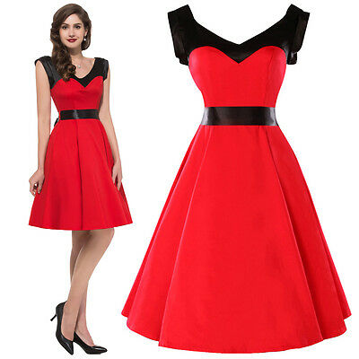 Rock N Roll COTTON PINUP SWING 1950's HOUSEWIFE VINTAGE EVENING GOTHICDRESS RED