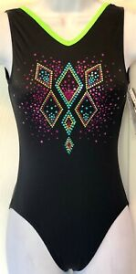 GK-ADULT-X-SMALL-NEON-SPARKLE-BLACK-N-S-SPANGLEZ-GYMNASTIC-DANCE-LEOTARD-AXS-NWT