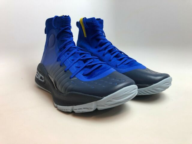8af68852e768 Under Armour Curry 4 Basketball SNEAKERS Royal Blue Yellow Mens Size ...