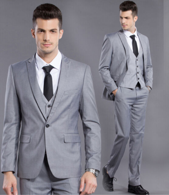 2016 Mens Wedding Formal Gray One Button Slim Fit Tuxedos Suit Jacket + Pants