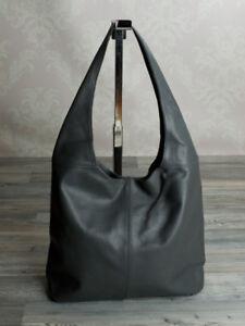 Ital-edle-Ledertasche-Schultertasche-Hobo-Bag-Damentasche-Grau-echt-Leder-708G