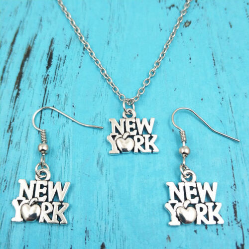 breloque argent bijoux Sets Creative Gifts New York collier boucle d/'oreille pendentifs