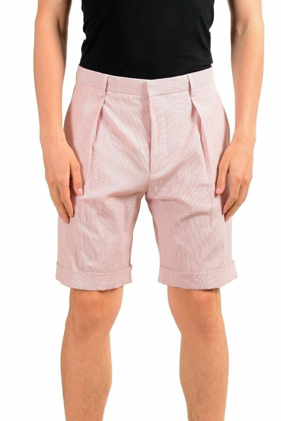 Hugo Boss  Pierce  Men's Striped Pleated Casual Shorts US S IT 48