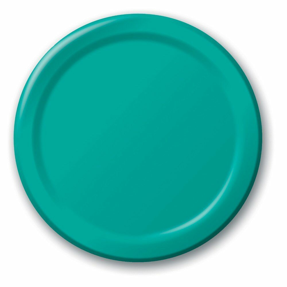 240  (10 Pks of 24) 8.75  Paper Dinner Lunch Plates Wax Coated - Teal