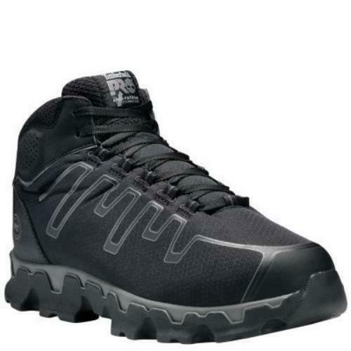 35409f0068a Timberland PRO Men's Powertrain Mid Alloy Toe EH Work Shoes Black Grey  TB0A1JYQ0
