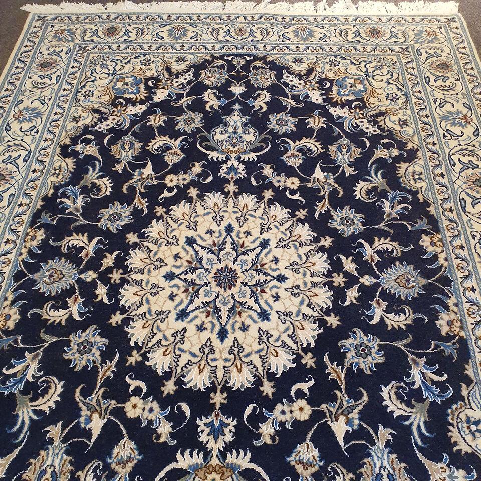 Gulvtæppe, ægte tæppe, Uld med silke på bomuld