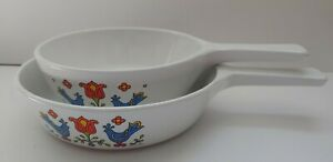 2-Corning-Ware-Friendship-Rooster-Festival-Dishes-6-1-2-034-and-1-Pint-Vintage-1975