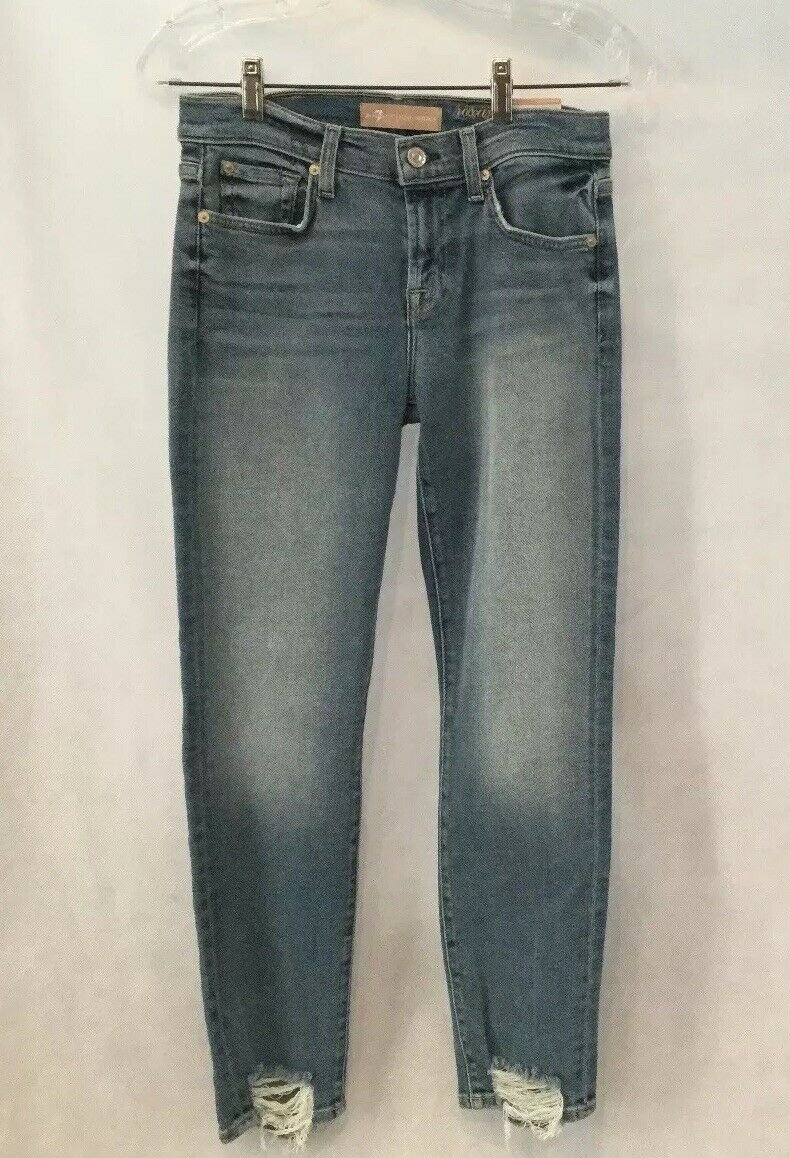 NWT 7 FOR ALL MANKIND LUXE VINTAGE ROXANNE ANKLE W DESTROYED HEM-SZ 27