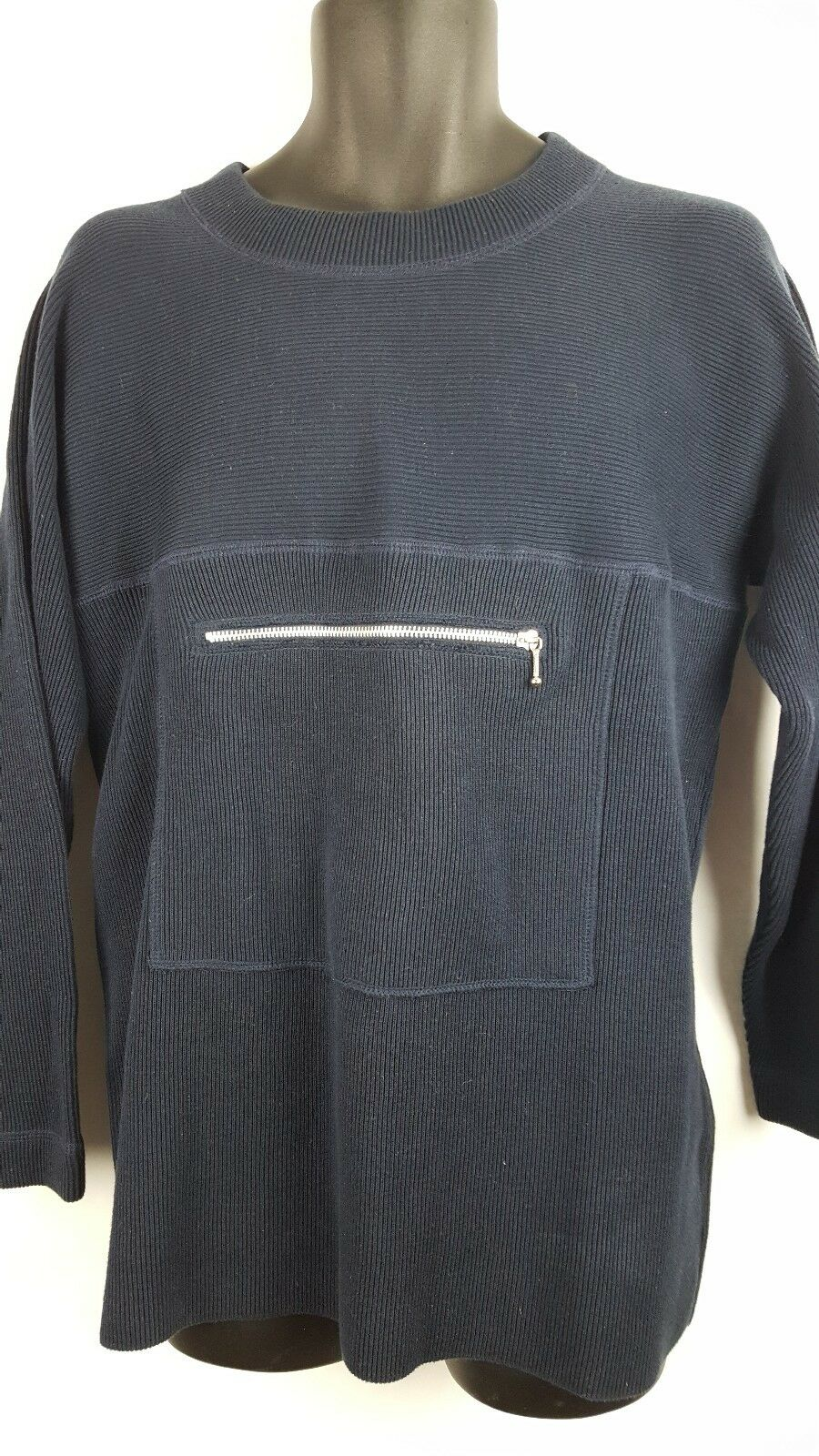 Vintage Richard Sport Sample Rare Chest Zipper Long Sleeve Small bluee I1