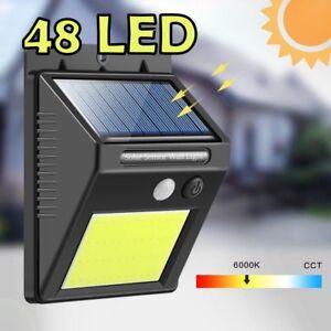 Lampada-Faro-luce-faretto-esterno-energia-solare-48-LED-sensore-movimento