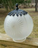 "VTG Frosted Cut to Clear Ceiling Light Ball Globe Shade Spain 1950s 4"" Fitter"