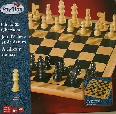 Pavilion Wood Chess /& Checkers Game Set Hand Carved Pieces Toys R Us NIB