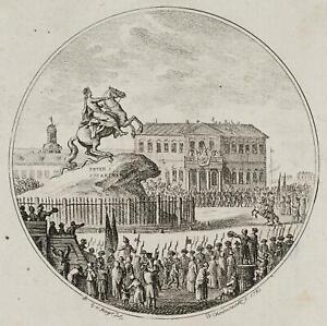 Chodowiecki (1726-1801). rivelazione cavaliere statua Peters D. Grandi St. Petersburg