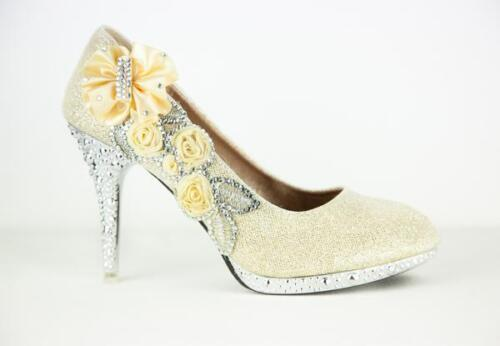 New Glitter Bridal Shoes Crystal Highheel Evening Bridesmaid Wedding Party UK