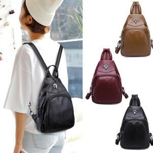 Convertible-Faux-Leather-Small-Backpack-Rucksack-Sling-bag-Purse-Chest-Pack