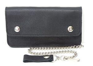 Biker-Chain-Wallet-Bifold-Black-Genuine-Soft-Leather-Mens-Trucker-8-034-New