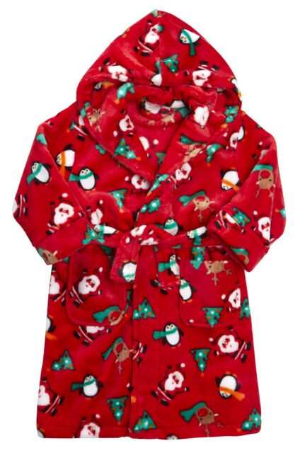 Festive Christmas Santa Childs Hooded Dressing Gown Robe Red 11-12 ...