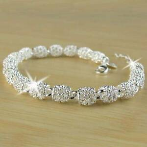 Fashion-Women-039-s-925-Silver-Charm-Chain-Bangle-Bracelet-Wedding-Jewelry-Xmas-Gift