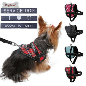 Small Dog Cat Harness Adjustable Pet Soft Vest W Patches For Yorkie
