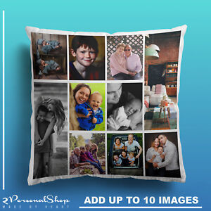 Personalised-Photo-Pillowcase-Cushion-Pillow-Insert-Custom-Present-Up-to-10-Pics