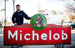 Original-MICHELOB-Budweiser-Anheuser-Busch-Porcelain-Neon-Beer-Sign-WOW
