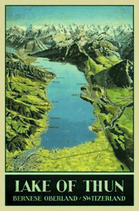Lake Of Thun Switzerland Tin Sign Shield Arched 20 X 30 CM