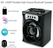 MS-132BT Bluetooth Speaker Wireless FM Square Wood USB Surpport Micro SD Card