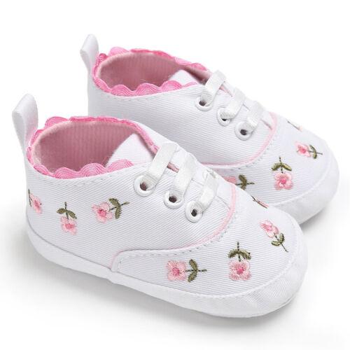 Baby Girls Shoes Floral Soft Prewalker Walking Toddler Kids Shoes First Walker