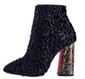 499c6d1b692 NIB Christian Louboutin Hilconico 100 Blue Poodle Block Heel Ankle ...