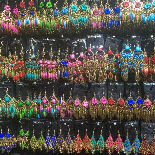 10//20 paires Mixte style vintage pampille Fleur Goutte Dangle Boucles d/'oreilles en gros