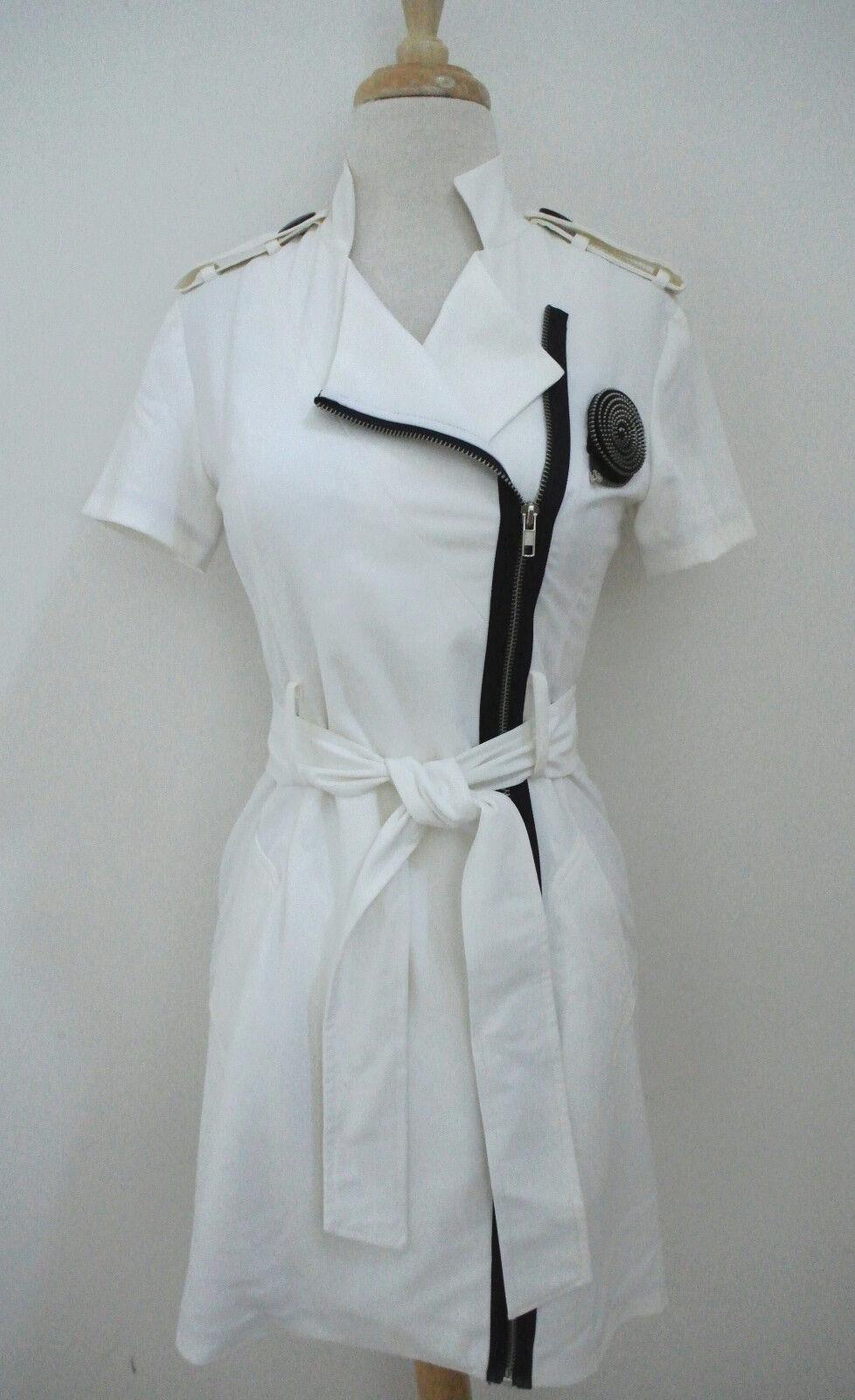 MARC JACOBS Weiß shirt dress sz 2 exposed zipper trim