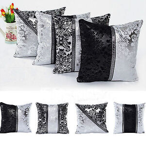 Black-amp-Silver-Diamante-Crushed-Sparkle-Bling-Throw-Cushion-Cover-Square-Decor