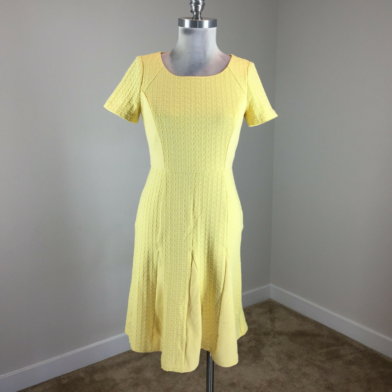 Talbots XS 2 Yellow A Line flounce dress Ponte knit Cap Sleeve Excellent