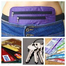 Secret Waist Wallet Pocket Money Belt Valuables hidden Travel Passport Purple
