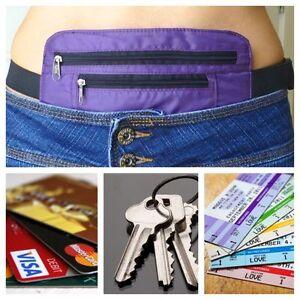Secret waist wallet pocket money belt valuables hidden travel passport purple ebay for Travel gear hidden pocket