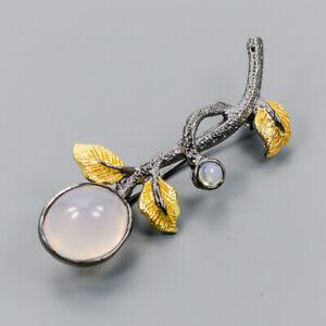 Handmade9ct-Natural-Rose-Quartz-925-Sterling-Silver-Brooch-NB07410