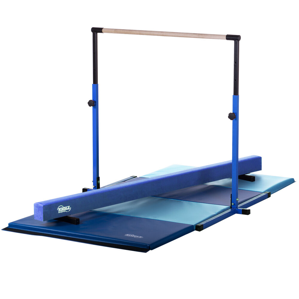 bluee Adjustable Horizontal Bar bluee Balance Beam Gymnastics Folding Mat