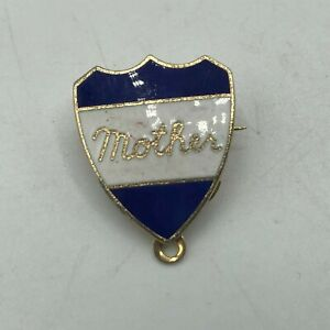 Vintage MOTHER Lapel Pin Dark Blue + White Shield Sweetheart    M6