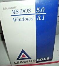 "NEW SEALED MS DOS 5.0 & Windows 3.1 Manual & 3.5"" Diskettes LEADING EDGE RARE"