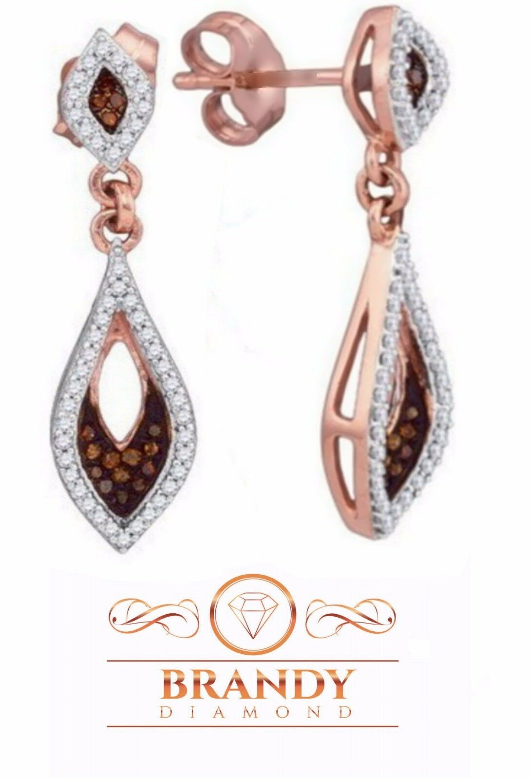 Brandy Diamond® Chocolate Brown 10K pink gold Radiant Dangle Earrings .36 Ct
