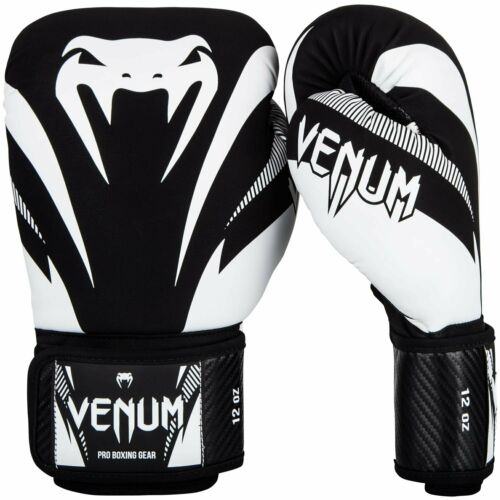Venum Impact Hook and Loop Training Boxing Gloves Black//White 14 oz