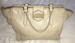 b8a863acfe Marc by Marc Jacobs Flipping Dots Taupe Beige Lambskin Leather Large ...